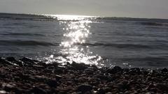 Low Angle Sunrise Shining On Sea Stock Footage