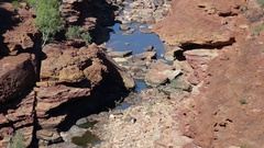 Red rocks over River Basin at Z Bend in Kalbarri NP Stock Footage