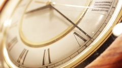 Close up shot of old wooden clock ticking Stock Footage