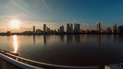 Panoramic fisheye view of the Canary Wharf financial district in London Stock Footage