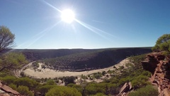 Sunshine over dry Murchison River bed in Kalbarri NP Stock Footage