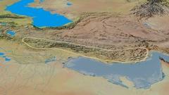Revolution around Zagros mountain range - glowed. Topographic map Stock Footage