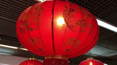 Chinese red lanterns on ceiling Stock Footage