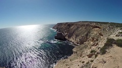 Steep red sea cliffs of Kalbarri NP in Australia Stock Footage