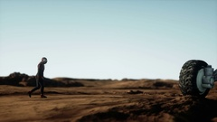 Astronaut and rover on alien planet. Martian on mars. Sci -fi concept. Stock Footage