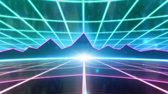 Retro 80s VHS tape video game intro landscape vector arcade wireframe mountains Stock Footage