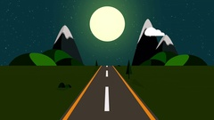 Ride through a cartoon highway seamless loop. Animated road at night starry sky Stock Footage