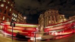 Fisheye timelapse night view of the Trafalgar Square area, Big Ben and the Stock Footage