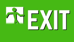 Green exit icon sign animation Stock Footage