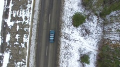 4K Aerial. Winter road  and car. Top view Stock Footage