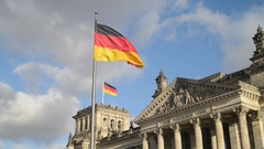 Flag of Germany on Reichstag building Stock Footage