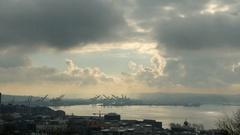 Seattle Harbor, Clouds, Time Lapse Stock Footage