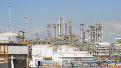 Land scape view of Oil refinery plant on day time Stock Footage