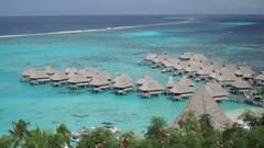 Overwater bungalows at the Sofitel Hotel, Moorea, French Polynesia. Stock Footage