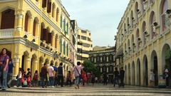 Macao - People at Largo do Senado square in sunny day. 4K resolution. Stock Footage