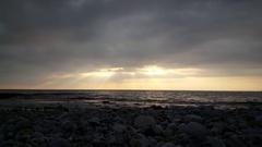 Cloudy sunset at Kardamyli beach Stock Footage