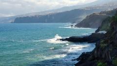Puerto de la Cruz, coastline, Tenerife Stock Footage