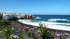 Tenerife, Puerto de la Cruz, Playa Jardin Stock Footage