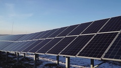 Alternative energy solar power plant in the winter Stock Footage