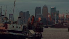 Panoramic view of the Thames Barrier facility and the Canary Wharf Stock Footage