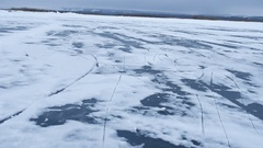 Ice winter snow lies on the river landscape the nature of camera movement Stock Footage