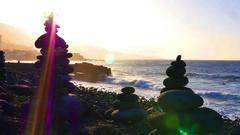 Tenerife, Puerto de la Cruz, Playa Jardin, sunset Stock Footage