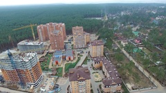 Construction of apartment houses. view from above with quadrocopters Stock Footage