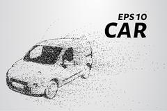 Car from the particles. The car disintegrates to smaller molecules. Vector .. Stock Illustration