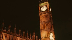 Gimbal shot of the Houses of Parliament and Big Ben at night Stock Footage