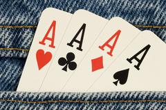 Four Aces in Your Pocket Stock Photos