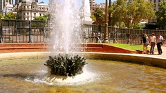 Plaza 25 mayo in Buenos Aires, Argentina, monument and fountain. Stock Footage