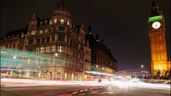 Car light trails slow motion night timelapse showing Westminster and Big Ben Stock Footage