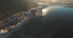 Aerial shot over  Mellieha Seaview in Malta Stock Footage