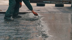 Alignment Concrete Screed Stock Footage