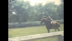 Vintage 16mm film, 1943 equestrian event, race jump, horse and buggy Stock Footage