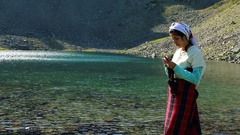 Summer Afternoon Lakeshore Young Woman Knitting Stock Footage