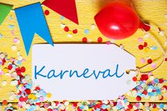 Party Label, Red Balloon, Karneval Means Carnival Stock Photos
