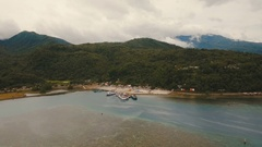 Sea passenger ferry port aerial view .Camiguin island, Philippines Stock Footage