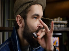 The harmonica or French harp, blues harp and mouth organ. Stock Footage