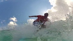 POV of a surfer getting tubed in Indonesia. Stock Footage