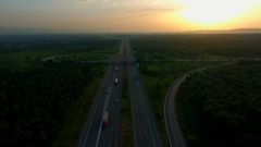 Aerial View Highway Interchange Stock Footage