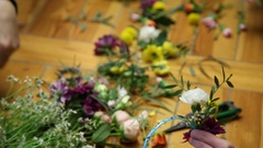 Master class of a florist making flower ring. Stock Footage