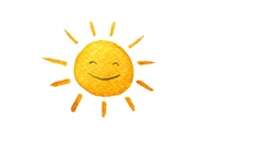 Cute cartoon sun painted in watercolor. Hand drawn illustration Stock Footage