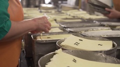 Metal containers with finished dairy product Stock Footage