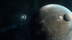 Spaceship Approaching Exoplanet Stock Footage