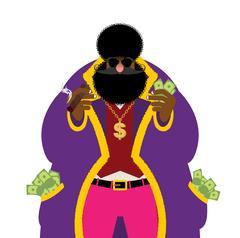 Pimp and money. Pocket full of cash. Bright clothing and cigar. Gold dollar.. Stock Illustration