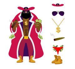 Pimp set. Pocket full of cash. Bright clothing and cigar. Gold dollar chain.. Stock Illustration