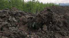 Frozen lava fields of Great Tolbachik Fissure Eruption stock footage video Stock Footage
