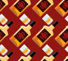 Bottle Scotch seamless pattern. Glass of whiskey and ice ornament. bourbon .. Piirros