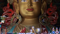 Sculpture Buddha at Thiksey Monastery, Tibetan monastery in Ladakh, India Stock Footage